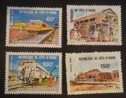 COTE D IVOIRE YT 540/543 NEUFS RETROSPECTIVE DU CHEMIN DE FER ANNÉE 1980 - Ivoorkust (1960-...)