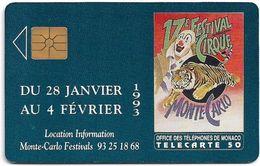 Monaco - MF25 (008) - 17e Festival Du Cirque - Cn. P0008, Gem1A Symmetr. Black, 12.1992, 50Units, 100.000ex, Used - Monaco