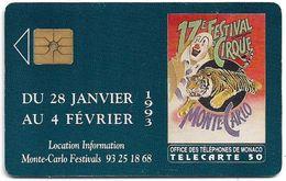 Monaco - MF25 (009) - 17e Festival Du Cirque - Cn. P0009, Gem1A Symmetr. Black, 12.1992, 50Units, 100.000ex, Used - Monaco