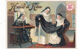CHROMO (81) SALVAGNAC Publicitaire Publicité Réclame Machine à Coudre HAID D' HEU Soeur Nonne Couture (2 Scans) - Chromos