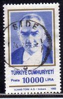 TURCHIA TURKÍA TURKEY 1992 1996  MUSTAFA KEMAL PASHA ATATURK 10000L LIRA USATO USED OBLITERE' - 1921-... Republic