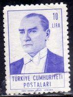 TURCHIA TURKÍA TURKEY 1961 1962  MUSTAFA KEMAL PASHA ATATURK 10L LIRA USATO USED OBLITERE' - 1921-... Republic