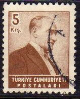 TURCHIA TURKÍA TURKEY 1955 1956 MUSTAFA KEMAL PASHA ATATURK 5k USATO USED OBLITERE' - 1921-... Republic