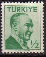 TURCHIA TURKÍA TURKEY 1956 1957 MUSTAFA KEMAL PASHA ATATURK 1/2k USATO USED OBLITERE' - 1921-... Republic