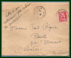 Doudeville Seine Inf. 76 Type A4 1948 / N° 716 Seul Gandon (pli Central) - Marcophilie (Lettres)