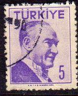 TURCHIA TURKÍA TURKEY 1956 1957 MUSTAFA KEMAL PASHA ATATURK 5k USATO USED OBLITERE' - 1921-... Republic