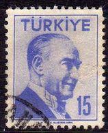 TURCHIA TURKÍA TURKEY 1956 1957 MUSTAFA KEMAL PASHA ATATURK 15k USATO USED OBLITERE' - 1921-... Republic