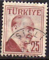 TURCHIA TURKÍA TURKEY 1957 MUSTAFA KEMAL PASHA ATATURK 25k USATO USED OBLITERE' - 1921-... Republic