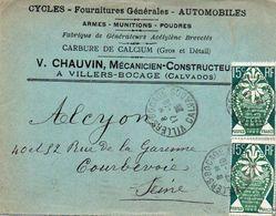 V7S Enveloppe Timbrée Exposition Paris 1925 Courrier Lettre 14 Villers Bocage Chauvin Mécanicien Cycles Autos - Marcophilie (Lettres)