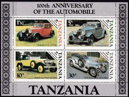 Tansania, 1986, 309/12 Block 53, MNH **, 100 Jahre Automobile, Rolls-Royce - Tanzania (1964-...)