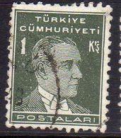 TURCHIA TURKÍA TURKEY 1931 1942 MUSTAFA KEMAL PASHA ATATURK 1k USATO USED OBLITERE' - Used Stamps