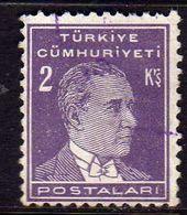 TURCHIA TURKÍA TURKEY 1931 1942 MUSTAFA KEMAL PASHA ATATURK 2k USATO USED OBLITERE' - Used Stamps