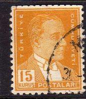 TURCHIA TURKÍA TURKEY 1953 1956 MUSTAFA KEMAL PASHA ATATURK 15k USATO USED OBLITERE' - 1921-... Republic