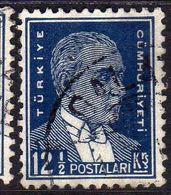 TURCHIA TURKÍA TURKEY 1931 1942 1932  MUSTAFA KEMAL PASHA ATATURK  12 1/2k USATO USED OBLITERE' - Used Stamps
