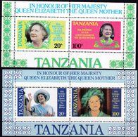 Tansania, 1985, 264/67 Block 42/43, MNH **,  85. Geburtstag Von Königinmutter Elisabeth. - Tanzania (1964-...)