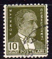 TURCHIA TURKÍA TURKEY 1953 MUSTAFA KEMAL PASHA ATATURK 10k USATO USED OBLITERE' - 1921-... Republic