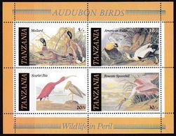 Tansania, 1986, 315/18 Block 555, MNH **,  John James Audubon. Birds - Tanzania (1964-...)