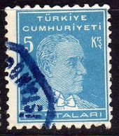 TURCHIA TURKÍA TURKEY 1950 1951 MUSTAFA KEMAL PASHA ATATURK 5k USATO USED OBLITERE' - 1921-... Republic
