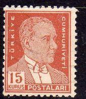 TURCHIA TURKÍA TURKEY 1950 1951 MUSTAFA KEMAL PASHA ATATURK 15k USATO USED OBLITERE' - 1921-... Republic