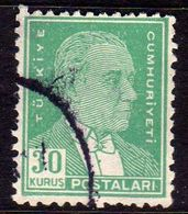 TURCHIA TURKÍA TURKEY 1953 1956 MUSTAFA KEMAL PASHA ATATURK 30k USATO USED OBLITERE' - 1921-... Republic