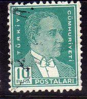 TURCHIA TURKÍA TURKEY 1931 1942 MUSTAFA KEMAL PASHA ATATURK 10pa USATO USED OBLITERE' - Used Stamps