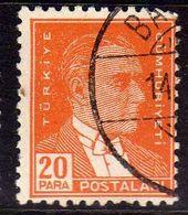 TURCHIA TURKÍA TURKEY 1931 1942 MUSTAFA KEMAL PASHA ATATURK 20pa USATO USED OBLITERE' - Used Stamps