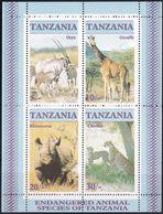 Tansania, 1986, 328/31 Block 58, MNH **,  Endangered Wildlife. - Tanzania (1964-...)