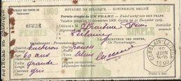 Permis De Pêche Simple (Enkel Verlof Visvangst) De 1 Franc Délivré à HAMOIR Pour 1909 - Dépôt 1909 - Griffe Postale - - Documents Historiques