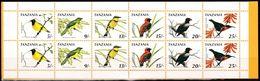 Tansania, 1990, 735/40 Booklet, MNH **,  Postage Stamps: Birds. - Tanzania (1964-...)