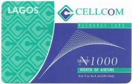Nigeria - Cellcom - Lagos Recharge Card, Exp. 30.03.2004, Thin Plastic GSM Refill 1.000₦, Used - Nigeria