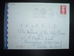 LETTRE Pour INDE BANGALORE TP MARIANNE DE BRIAT 2,50 OBL.MEC.29-7 1992 74 LA ROCHE SUR FORON HTE SAVOIE - 1989-96 Bicentenial Marianne
