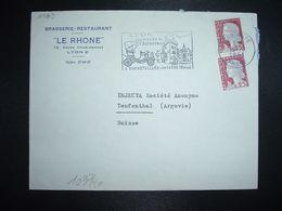 LETTRE Pour La SUISSE TP MARIANNE DE DECARIS 0,25 X2 OBL.MEC.19-10 1961 LYON GARE RHONE(69)BRASSERIE RESTAURANT LE RHONE - 1960 Maríanne De Decaris