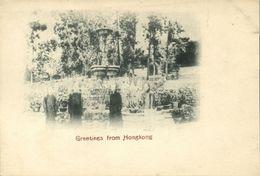 China, HONG KONG, Fountain Public Garden (1899) Postcard - Chine (Hong Kong)