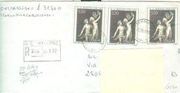 ARTE BERNINI £.520X3 (s1539),LETTERA RACCOMANDATA ASSEGNO, 1982,TIMBRO POSTE CREVACUORE (VERCELLI)-BOTTICINO MATTINA - 6. 1946-.. Repubblica