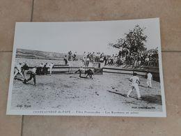 Chateauneuf Du Pape Photo D'une Cpa 25x40cm Fetes Provençales Razeteurs En Action , Taureaux , Manade Course Camarguaise - Reproducciones