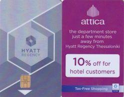 GREECE(chip) - Hyatt Regency Thessaloniki(reverse Attica The Department Store), Hotel Keycard, Used - Hotelkarten