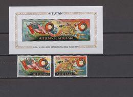 Aitutaki 1975 Space Apollo-Soyuz Set Of 2 + S/s MNH - Raumfahrt