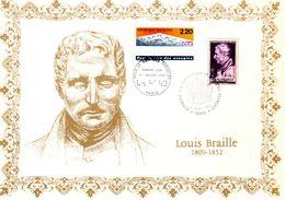 """"""" LOUIS BRAILLE """" Sur Encart 1er Jour ET Commémoratif N°té / Soie Rare (217/500) Edit° A.M.I.S. N°YT 793  2562 Parf état - Behinderungen"""