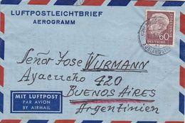 ALLEMAGNE ENVELOPPE AEROGRAMME. CIRCULEE ANNEE 1957, MUNCHEN A BUENOS AIRES, ARGENTINE. PAR AVION - Cartas
