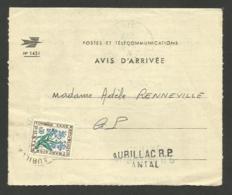 Taxe 0.30 Fleur / Avis D'arrivée Mandat / AURILLAC - CANTAL 12.08.1965 - Postage Due