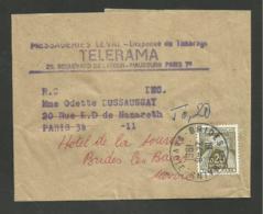 Taxe 0.20 Gerbe / Réexpédition Bande Journaux Pour BRIDES LES BAINS - SAVOIE 24.08.1961 - Postage Due