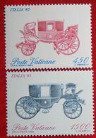 Briefmarkenausstellung ITALIA '85: Reisekutschen Coach 1985 Mi 880-881 Yv 784-785 VATICANO VATICAN VATICAAN - Vatican