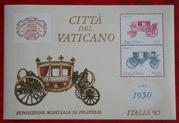 Briefmarkenausstellung ITALIA '85: Reisekutschen Coach 1985 Mi 880-881 Block 8 Yv 784-785 VATICANO VATICAN VATICAAN - Vatican