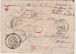 1869 LAC Besançon GC 456 / Pour Montigny Les Arsures / Jura / Nombreux Cachets Au Dos (Montigny 70, 52, 21)cachet Mairie - 1849-1876: Klassik