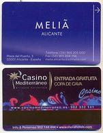 Casino Mediterraneo Advert On Hotel Meliá Room Key Card, Alicante, Spain,  # Melia-79 - Cartes D'hotel