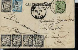 Carte-vue De Mons (Monument Dolez)  Obl Mons - 2 D - BERGEN 11/09/1911 - Taxé En France - Postage Due