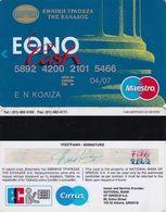 GREECE - National Bank Ethnocash Maestro(Oberthur)(2 Logos On Reverse), Debit Card, 11/99, Used - Geldkarten (Ablauf Min. 10 Jahre)