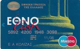 GREECE - National Bank Ethnocash Maestro(De La Rue)(2 Logos On Reverse), Debit Card, 12/98, Used - Geldkarten (Ablauf Min. 10 Jahre)