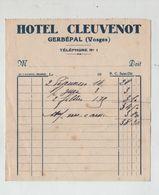 Hôtel Cleuvenot Gerbépal Vosges Note Années 30 - Publicités