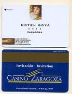 Casino Zaragoza Advert On Hotel Goya Room Key Card, Zaragoza, Spain, # Goya-1 - Cartes De Casino